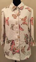 Alfred Dunner Womens Jacket Sz 14 Beige Button Down Long Sleeve Butterfly Motif