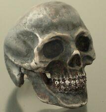 HUGE STERLING SILVER SKULL RING DIAMOND TEETH!!  MASONIC GOLIATH 925 HANDMADE!!