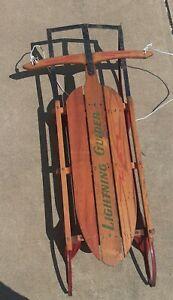 vintage wooden lighting glider kids sled
