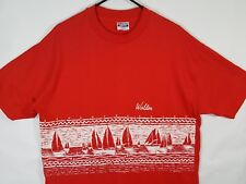 Vtg 80s Walden Surfboards Thoreau Pond Red T-Shirt Surf Sz L XL Hanes Beefy USA