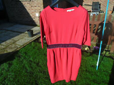 Boden size 12 petite Stretch raspberry red Dress Stretchy pockets velvet trim