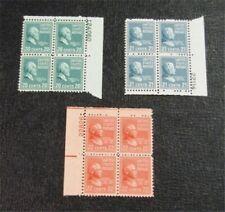 nystamps US Plate Block Stamp # 825-827 Mint OG NH $21 Plate Block Of 4