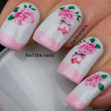 Nails Nail Art Water Transfers Decals Wraps Pink Rose Flower Y1125 Wedding