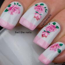 Uñas Nail Art transferencias de agua calcomanías Wraps Rosa Rosa Flor y1125 Boda