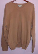 Orvis V Neck Sweater Made In Scotland 100% Cashmere Beige L