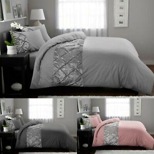 Duvet Cover Set Pintuck Crushed Velvet Bedding Set100% Egyptian Cotton All Sizes