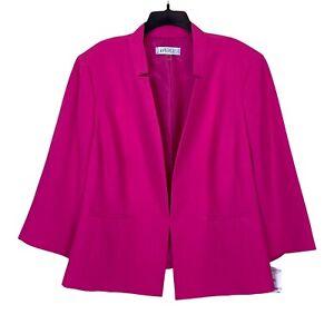 New Kasper Womens Plus Size Jacket Blazer 22W Pink Inverted Collar Work Womens