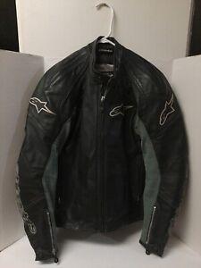 Nice Used Sz40 mens LEATHER ALPINESTARS MOTORCYCLE JACKET BLACK