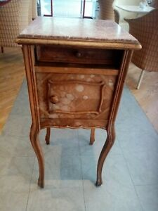 Antique walnut? marble topped, French Bedside table, Ceramic interior Circa 1900