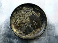 Antique Japanese Meiji Period Copper Spelter Plate - Signed