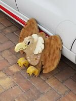 Vintage Hand Painted Carved 3D Wooden Vulture Bird Sculpture One Of A Kind
