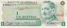 Guatemala 1980 1 quetzal banknote prefix B..T billete de guatemala serie B..T