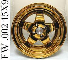 """FelgenWerks FW .002 24K Dubai Gold Chrome 15x9 4-100 [+15mm] 4.5"""" LIP Honda CRX"""