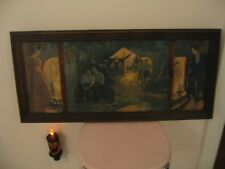 Beautiful Antique Triple Yard Long Wood Framed Print Of Lady And Man Courting
