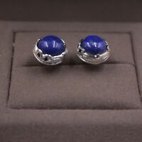 New Arrival Pure S925 Sterling Silver Lapis Lazuli Stud Women Unique Earrings