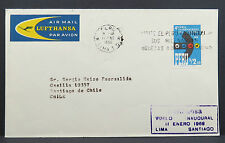 Peru Lima Santiago de Chile Airmail Lufthansa 1966 Luftpost Brief (Lot 4494