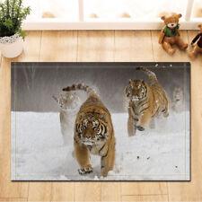 Tiger runs in the snow Door Mat Bathroom Rug Bedtoom Carpet Bath Mats Rug New