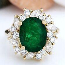 6.94 Carat Natural Emerald 14K Solid Yellow Gold Diamond Ring
