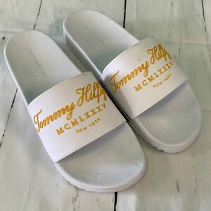 Tommy Hilfiger White Gold Roman Slides Slippers Men Size 11