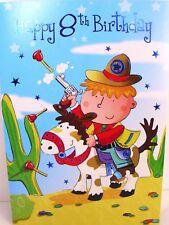 """Boy Playing Cowboy's """"HAPPY 8th"""" Birthday Card"""