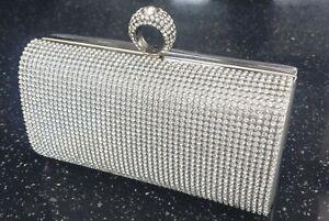 Silver Crystal Diamante Evening Ring bag Womens Clutch Purse Party Wedding Prom