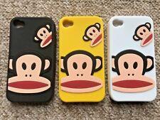 SOFT RUBBER GEL BACK CASE / COVER / SKIN - APPLE iPHONE 4 4S - CARTOON MONKEYS