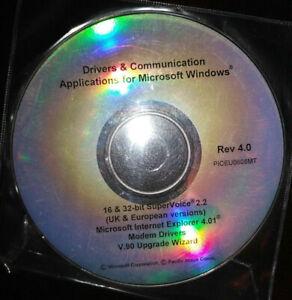 Microsoft Windows Rev 4.0 Drivers & Communication Disc Disk PICEU0602MT