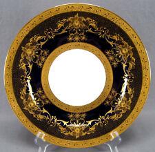 Guerin Limoges Art Nouveau Cobalt & Raised Gold Encrusted Floral Dinner Plate