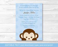 Mod Boy Monkey Jungle Safari Blue Printable Baby Shower Invitation Editable PDF