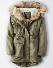American Eagle Women's Faux Fur Hooded Sherpa Lined Winter Long Coat Parka XXL