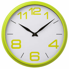 Lime Green White Wall Round Clock Time Retro Design Child Bedroom Kitchen Home