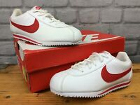 NIKE UK 1 EU 33 CORTEZ WHITE RED TRAINERS CHILDRENS BOYS GIRLS EP