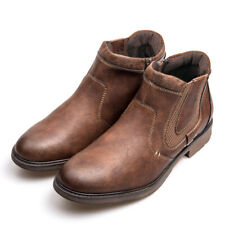 Men Zip High Top Cowboy Motorcycle Shoes Ankle Boots Retro Chelsea Bootie Casual