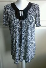 Ladies Black Grey & Cream Short Sleeve Top - Size M