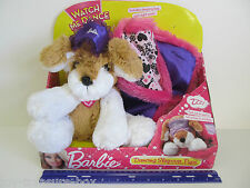 """Barbie """"DANCING SLEEPOVER PUPS"""" Tan & White Puppy with Sleeping Bag & Night mask"""