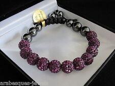 Véritable bracelet SHAMBALLA BIJOUX ARABESQUES Améthyste / Violet Cristal Swarovski