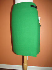 New Ralph Lauren Size 12 French Green Wool Wrap Skirt with Leather Strap