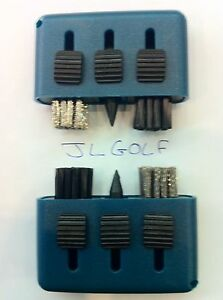 Set of 2 BLACK JL Golf 3-in-1 Golf Club Brush Groove Cleaner.Irons Woods *NEW