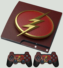 PLAYSTATION PS3 SLIM FLASH LOGO 01 SUPERHERO LIGHTNING BOLT SKIN & 2 PAD SKINS