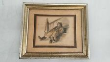 Vintage Don Freeman Mixed Media Pencil & Ink Man Sleeping on Stairs Framed 12x10