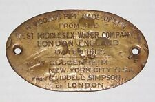 Antique Guggenheim NYC Brass Display Sign Plaque 1812 London UK Wood Water Pipe
