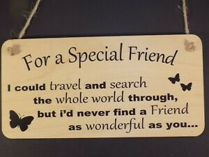 """""""For a special Friend"""" Wood sign hanging plaque love present best friends gift"""