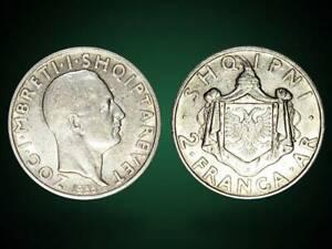 2 FRANGA ARI . SILVER COIN . ALBANIA 1935 - no 13