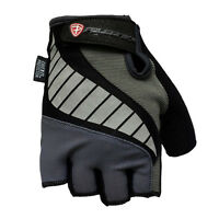 Cycling Bike Bicycle Gel Padded Half Finger Fingerless Gloves Mens Gray
