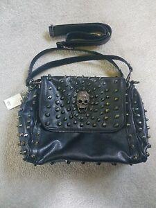 GOTH BLACK METAL ROCK SteamPunk Leather Stud Hand Shoulder Bag Skull never used