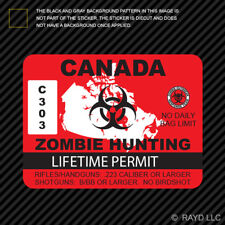 Canada Zombie Hunting Permit Sticker Die Cut Decal outbreak response team