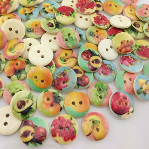 50/100pcs Fruit Pattern Wooden Buttons Fit Sewing and Scrapbook 15mm WB161