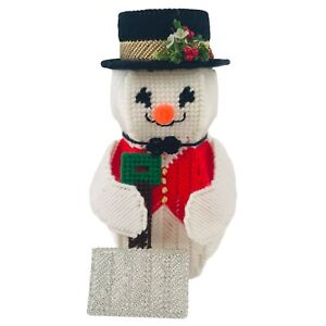 Vintage Christmas Finished Needlepoint Snowman Tabletop Decoration 8.5 Inch Tall