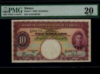 Malaya:P-1,10$ Dollars 1940 * King George VI * PMG VF 20 *