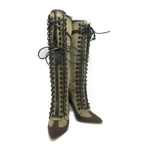 LOUIS VUITTON boots long lace-up #36.5 heels shoes leather Green Black Used
